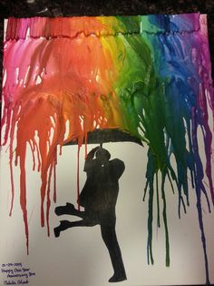 Melted crayon art for my boyfriend for our one year anniversary! Home made gifts are the sweetest!
