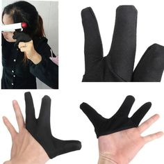 creative soft Three fingers design Hair Strag Hairdressing Finger Resistant Heat Glove Black Straightening Curling gloves A2