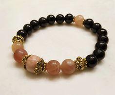 Black Gemstone Bracelet. Mala Yoga Bracelet. Onyx Bracelet.