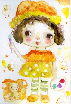 Watercolor art by Mindy Lacefield. Orange Blossom #watercolorconfections #strawberryshortcake #art #primamarketing