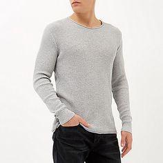 Light grey lightweight textured jumper - jumpers - jumpers / cardigans - men
