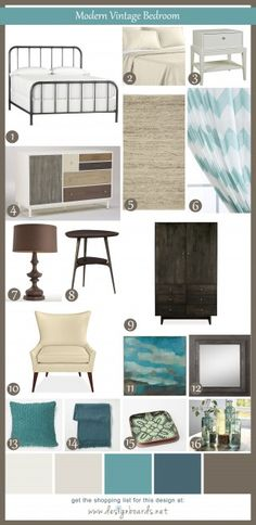 """Free pre-coordinated design """"boards"""" with shopping lists for every room in your home and a variety of design styles. Let's create a little magic one room at a time. Modern Vintage Bedrooms, Bedroom Vintage, Modern Bedroom, Bedroom Decor, Master Bedroom, Bedroom Ideas, Shabby Chic Furniture, Shabby Chic Decor, Rustic Decor"""