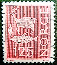 beautiful norwegian stamps Norge 125 ore stamp Norway Norwegen postes postage porto timbre bollo sello maerke marke briefmarke stamp marka cancelled by stampolina, via Flickr