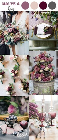Purple Wedding Flowers 8 Amazing Wedding Color Combos to Steal in Spring and grey vintage wedding colors ideas, wedding flowers,wedding decorations - Vintage Wedding Colors, Mauve Wedding, Fall Wedding Colors, Grey Wedding Theme, Spring Wedding Themes, September Wedding Colors, Grey Purple Wedding, Vintage Decoration Wedding, Purple Wedding