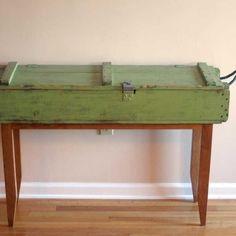 Custom Made Reclaimed Cherry And Ammunition Box Hall Table