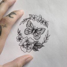 Butterfly & Flowers Tattoo by medusaloux@outlook.com