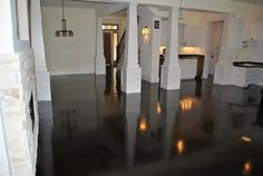 Love this space!! stained concrete