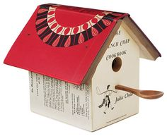 Any bird would be proud to nest in this darling ornamental birdhouse, which was created out of a vintage Julia Child cookbook.