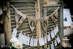 Rustic, shabby chic party. Bat Mitzvah party. Name garland. escort cards