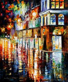 """Impressionism painting by Leonid Afremov, """"West Palm Beach City Place"""""""
