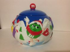 Collectible M&M Winter Holiday Christmas Cookie Jar Comical Skiing Hockey