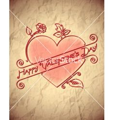 Crumpled vintage valentines day card with heart vector - by swillklitch on VectorStock®