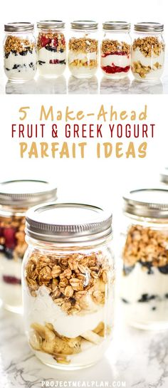 5 Make-Ahead Fruit & Greek Yogurt Parfait Ideas to Try for Breakfast - 5 ideas for easy fruit and yogurt parfaits to make ahead!