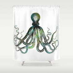 Octopus Shower Curtain. My new favorite place to shop for funky shower curtains and other fun decor!