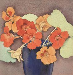 Nasturtiums by Rita Angus, watercolour Te Papa Museum. Gouache Painting, Watercolor Paintings, Watercolors, New Zealand Art, Nz Art, Traditional Paintings, Watercolor Rose, Art Images, Flower Art