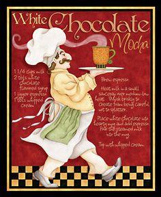 quenalbertini: White chocolate mocha by Joy Hall Chef Kitchen Decor, Kitchen Art, Illustrations, Illustration Art, Courtney Davis, Cartoon Chef, Le Chef, Holiday Drinks, Creative Decor