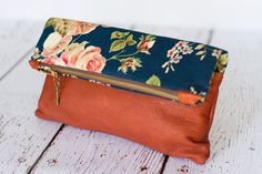 Leather bag,leather clutch,foldover clutch,foldover bag,boho floral…