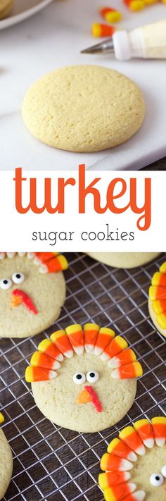Turkey Sugar Cookies are a playful dessert for Thanksgiving. They are fun to make for parties, lunch boxes, and play dates. via HTTP://www.pinterest.com/fireflymudpie/