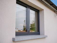 Flush aluclad wood casement window with graphite grey (ral 7024 Modern Window Design, House Window Design, Modern Windows, Wood Windows, Casement Windows, House Windows, Windows And Doors, House Design, Aluminum Windows Design