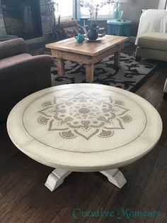 Stenciled Coffee Table in Warm White