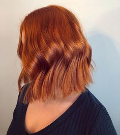 Waves + copper red + lob = a match made in heaven. Created by Wella Master Color Expert Noora Pakanen.