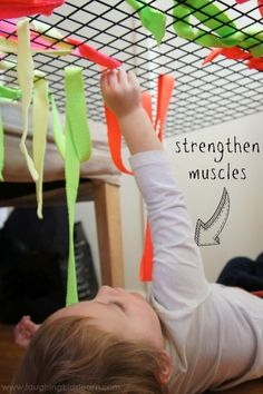 strengthen gross motor skills with threading and weaving activity for kids good way to increase shoulder stability core stability kids Occupational Therapy Activities, Pediatric Occupational Therapy, Motor Skills Activities, Pediatric Ot, Gross Motor Skills, Sensory Activities, Infant Activities, Preschool Activities, Toddler Gross Motor Activities