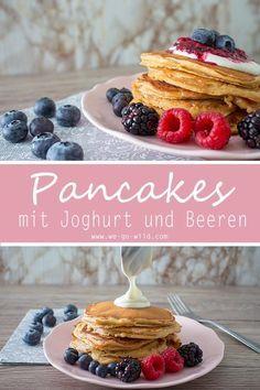 Pancakes Rezept gesund mit Joghurt und Dinkelvollkornmehl: Saftige und Fluffige Pancakes als Frühstücksidee . Du möchtest ein gesundes Frühstück vorbereiten aber ohne die kleinen Pfannkuchen geht nicht? Dann mach einfach Pancakes mit Vollkornmehl und Joghurt. Und schon hast du ein gesundes Dessert #pancakes #frühstück