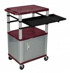 Luxor Burgundy with Nickel Cabinet Presentation Station by Luxor. $342.00. Shelves are constructed with a injection molded thermoplastic resin. Will not chip, warp, rust or peel. Shelves have a .25 inch safety retaining lip.