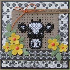 Trijntjes Cards: Cow in cross stitch - Trijntjes Cards: Cow in cross stitch - Tiny Cross Stitch, Cat Cross Stitches, Cross Stitch Boards, Cross Stitch Flowers, Cross Stitch Kits, Cross Stitch Designs, Cross Stitch Patterns, Stitching On Paper, Cross Stitching