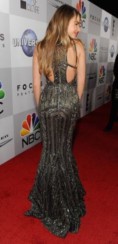 Golden Globes: Sofia Vergara might've abandoned her signature silhouette, but not for long! The view from the back of her Zuhair Murad afterparty dress was just as stunning as the front!