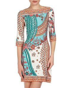 Three-Quarter-Sleeve Printed Shift Dress by Donna Morgan at Last Call by Neiman Marcus.