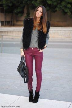 Black faux fur vest, grey top, burgundy skinny jeans, black booties & handbag