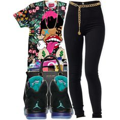 Untitled #145 by mb-misfit on Polyvore featuring polyvore fashion style FOSSIL Chanel NIKE Chains skinnyjeans jordans