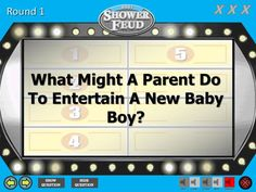 Virtual Baby Shower Feud - Baby BOY - Shower Feud - Family Feud Trivia Powerpoint Game - Mac PC and iPad Compatible Fun Baby Shower Games, Baby Boy Shower, Baby Showers, Baby Shower Questions, How To Make Edits, Powerpoint Games, Family Feud, Virtual Baby Shower, Theme Song