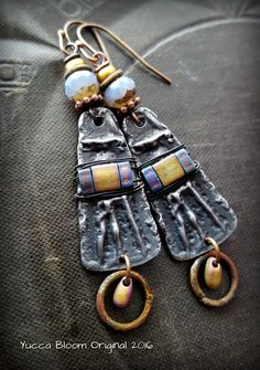 Primitive, Glass Weave, Inviciti, Rustic,Tribal, Hoops, Pewter Charms, Lavender, Brass, Glass, Rusty, Beaded Earrings by YuccaBloom on Etsy