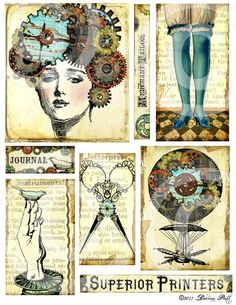 GeaR HeaD eLeMeNTs atc aged stained antique vintage paper DiGiTaL Collage SHeeT
