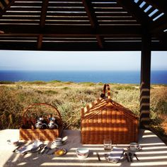 Picnic with a view at Cap Rocat Hotel in Palma de Mallorca, Spain.