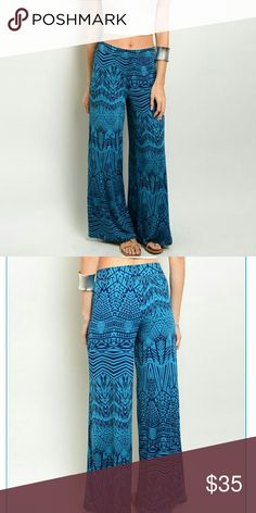 "teal/blk palazzo pant beautiful, flowy, relaxed fit palazzo pants. women's sizes. Brand NWT retail and never worn. 95% polyester, 5% spandex. stretchy. inseam is about 29"". no trades.  S - waist stretches to about 18"" across when laying flat  M - waistline stretches to about 19"" L - waistline stretches to about 20"" Pants Wide Leg"