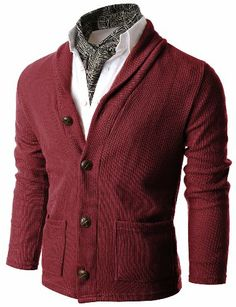 Doublju Mens Shawl Collar Sweater Cardigan with Pockets