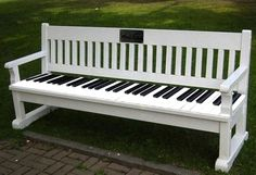 Piano keyboard park bench