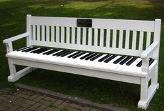 Piano keyboard park bench