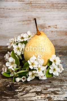Still life with a yellow pear and pear blossom on vintage wood background