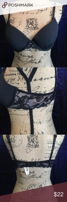 Victoria's Secret Black Push-Up Demi Bra 36B NWT Victoria's Secret Black Push-Up Demi Bra 36B NWT.  Lace sides and pearl accents on front.  Very pretty. Victoria's Secret Intimates & Sleepwear Bras