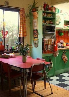 Cool 49 Colorful Boho Chic Kitchen Designs : 49 Colorful Boho Chic Kitchen Designs With White Kitchen Walls Green Wooden Cabinet Sink Oven Stove Window Curtain Red Dining Table Bar Stool Chair Ceramic Tile Hardwood Floor