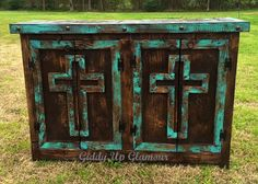 Handmade Rustic Cross Door Buffet or Entry Table in Turquoise and Dark Stain