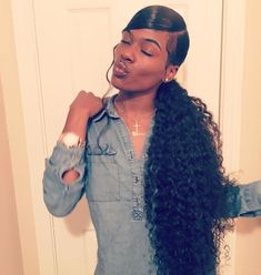 Virgin Human Hair Brazilian Hair Bundles,Weave With Closure Curly Ponytail Weave, Slick Ponytail, Weave Ponytail Hairstyles, Ponytail Styles, Dope Hairstyles, My Hairstyle, Black Girls Hairstyles, African Hairstyles, Curly Hair Styles