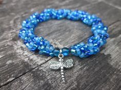 Spiral Beaded Bracelet - Shades of Blue w/ Dragonfly charm