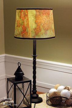 Vintage map lamp shade