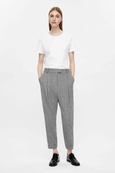 COS image 1 of Tapered trousers in Grey
