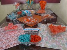 Old-fashioned candy bar. Orange and turquoise baby shower